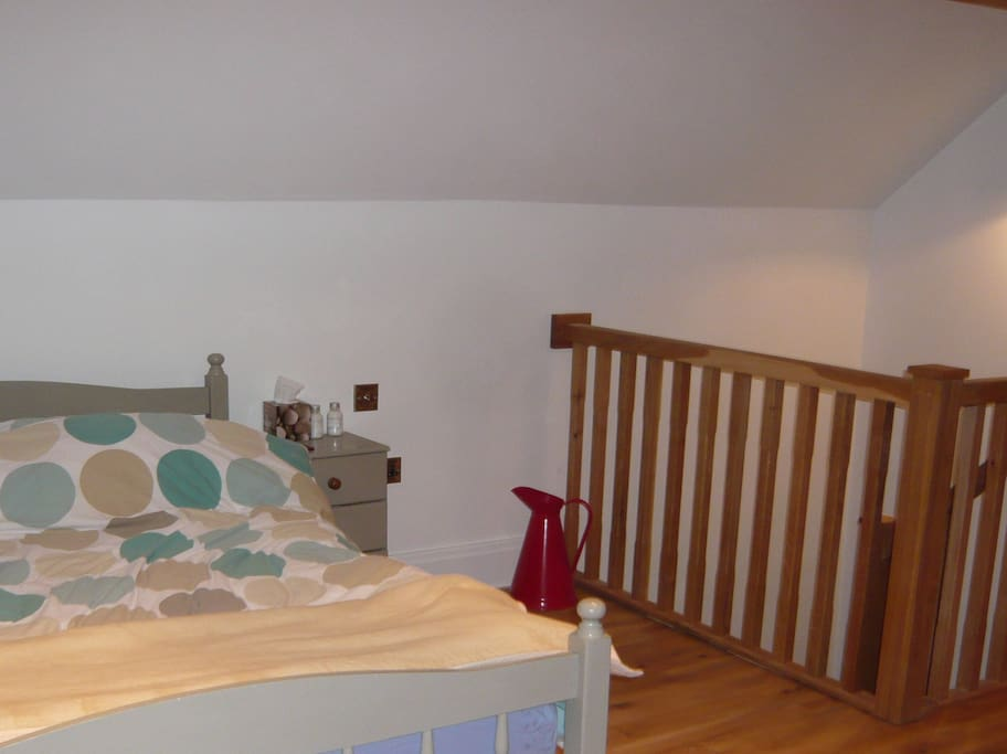 Bedroom with double bed and freeview hard drive and TV