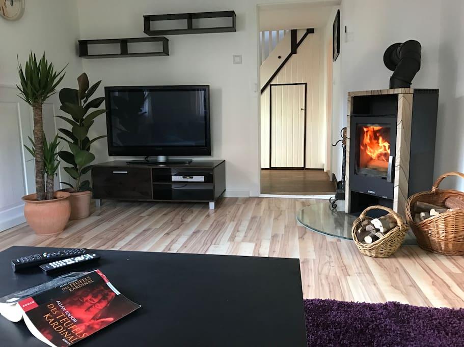 Wohnzimmer mit Kaminofen und Plasma-TV
